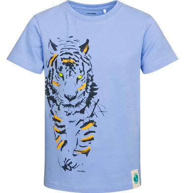 T-shirt z krótkim rękawem dla chłopca, z tygrysem, niebieski, 2-8 lat C05G146_2