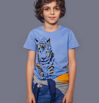Endo - T-shirt z krótkim rękawem dla chłopca, z tygrysem, niebieski, 2-8 lat C05G146_2 24