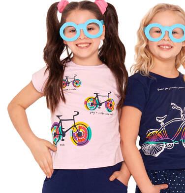 Endo - Bluzka z krótkim rękawem dla dziewczynki, kolorowe rowery, różówa, 2-8 lat D03G026_1