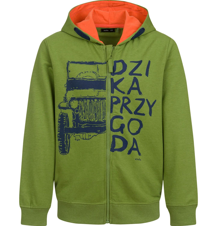 Endo - Rozpinana bluza z kapturem dla chłopca, z samochodem, zielona, 9-13lat C03C512_1