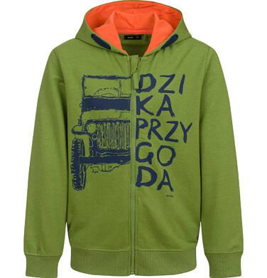 Endo - Rozpinana bluza z kapturem dla chłopca, z samochodem, zielona, 9-13lat C03C512_1,1