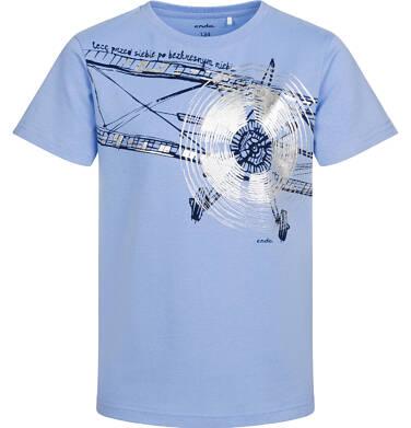 Endo - T-shirt z krótkim rękawem dla chłopca, z samolotem, niebieski, 9-13 lat C05G152_1 13