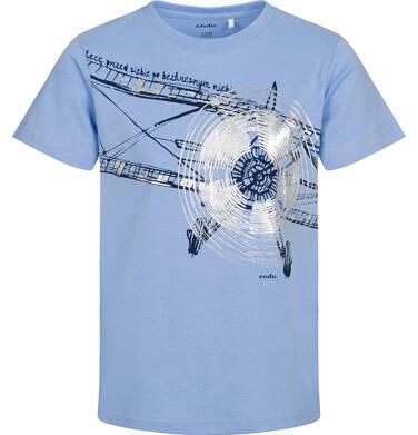 T-shirt z krótkim rękawem dla chłopca, z samolotem, niebieski, 2-8 lat C05G153_1