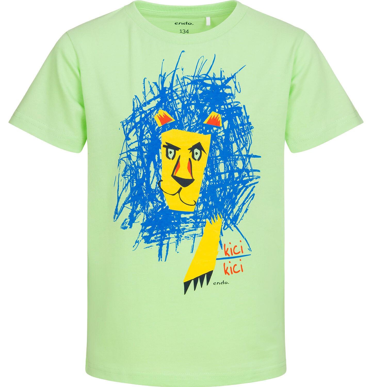 Endo - T-shirt z krótkim rękawem dla chłopca, z lwem, zielony, 9-13 lat C05G160_2