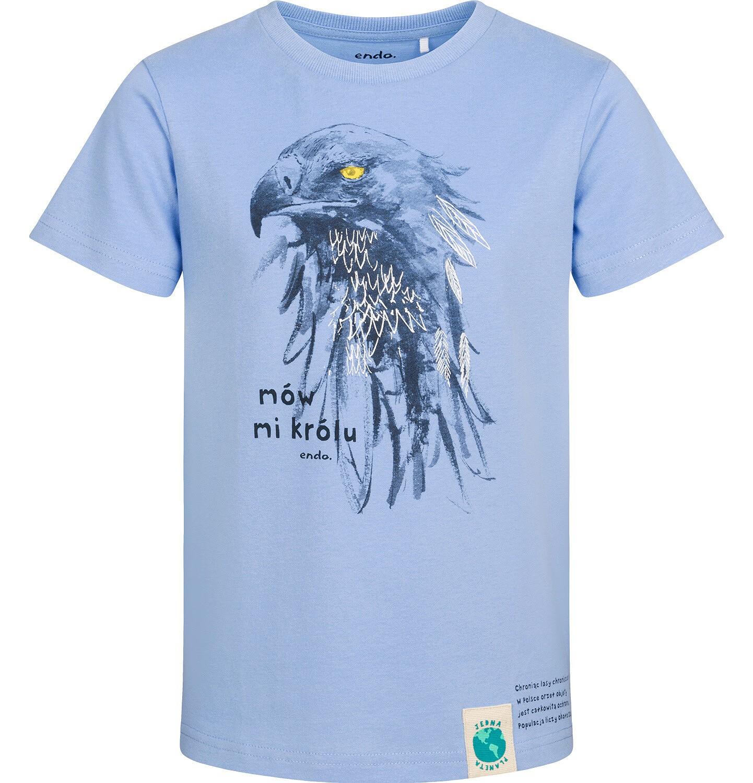 Endo - T-shirt z krótkim rękawem dla chłopca, z orłem, niebieski, 2-8 lat C05G162_1
