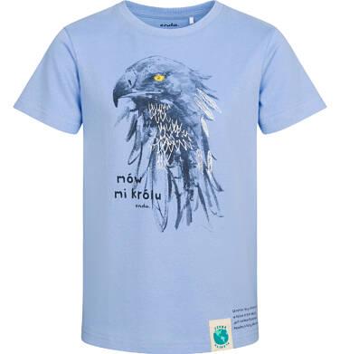 T-shirt z krótkim rękawem dla chłopca, z orłem, niebieski, 2-8 lat C05G162_1