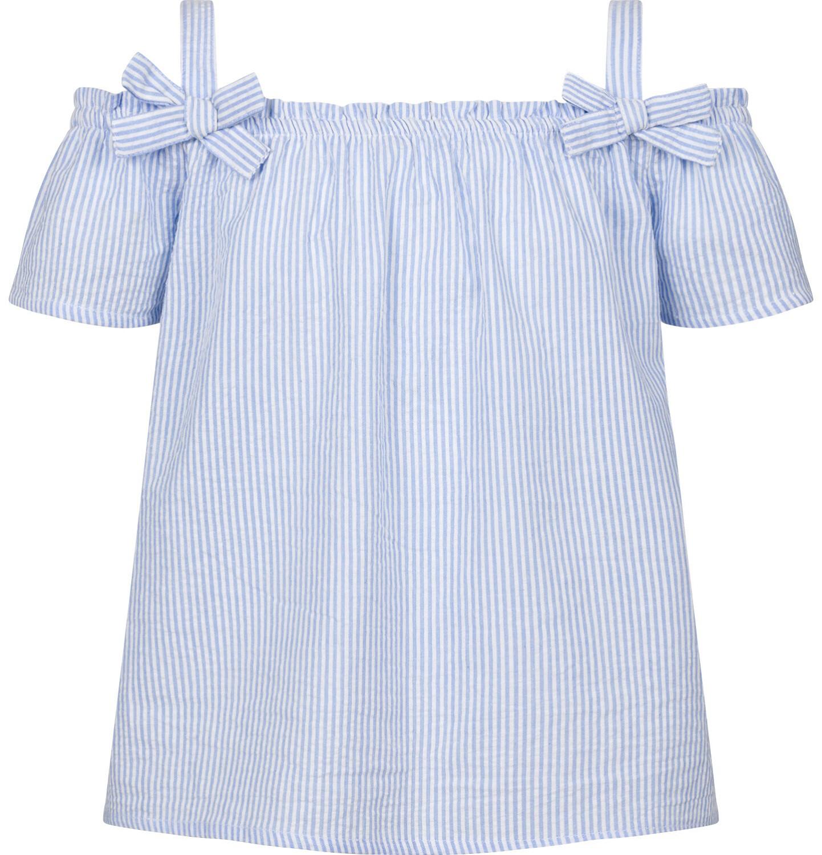 Endo - Bluzka koszulowa na ramiączkach dla dziewczynki, w kratę, biało-niebieska, 2-8 lat D03F011_1