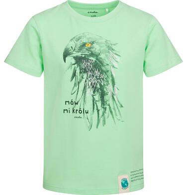 T-shirt z krótkim rękawem dla chłopca, z orłem, zielony, 2-8 lat C05G162_2
