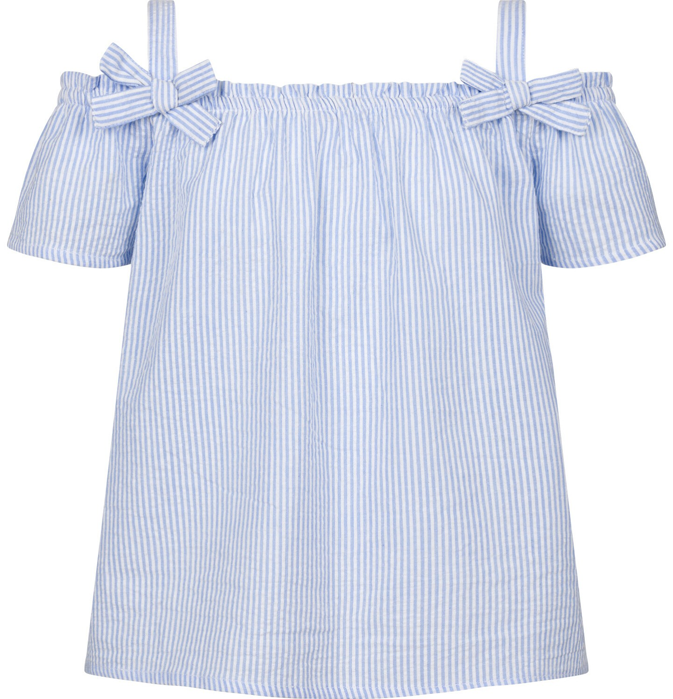 Endo - Bluzka koszulowa na ramiączkach dla dziewczynki, w kratę, biało-niebieska, 9-13 lat D03F511_1