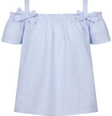 Endo - Bluzka koszulowa na ramiączkach dla dziewczynki, w kratę, biało-niebieska, 9-13 lat D03F511_1 220