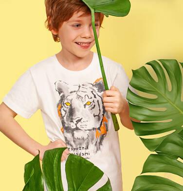 Endo - T-shirt z krótkim rękawem dla chłopca, z tygrysem, biały, 2-8 lat C05G173_1 18
