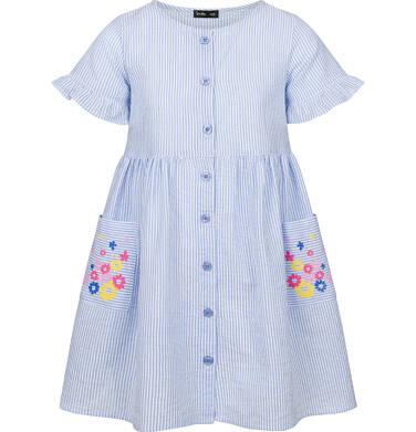 Endo - Sukienka z krótkim rękawem, w paski, biało-niebieska, 2-8 lat D03H028_1