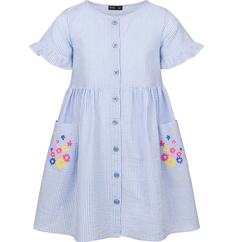Endo - Sukienka z krótkim rękawem, w paski, biało-niebieska, 9-13 lat D03H528_1