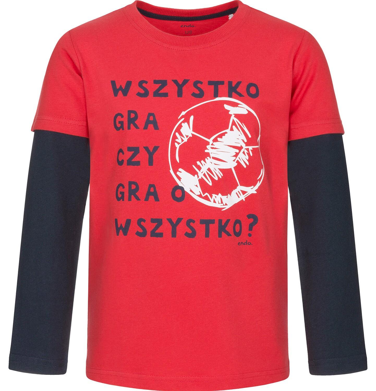 Endo - T-shirt z długim rękawem dla chłopca, kontrastujące rękawy, czerwony, 3-8 lat C92G026_1