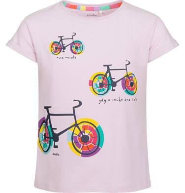 Bluzka z krótkim rękawem dla dziewczynki, kolorowe rowery, różówa, 9-13 lat D03G526_1