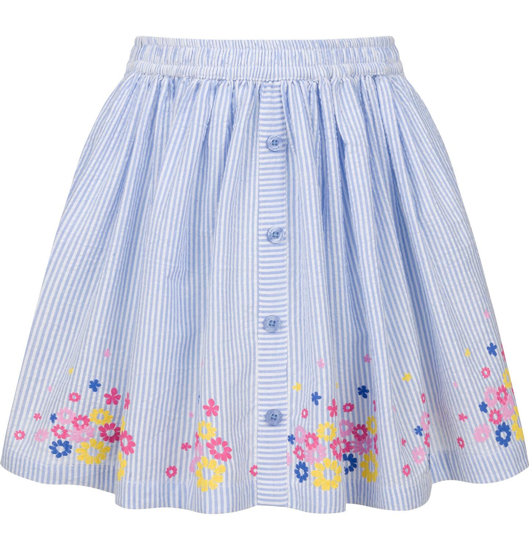 Endo - Spódnica, w paski z kwiatowym wykończeniem, biało-niebieska, 2-8 lat D03J007_1