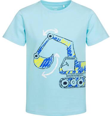 T-shirt z krótkim rękawem dla chłopca, z koparką, niebieski, 2-8 lat C05G174_2