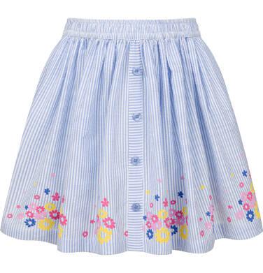 Endo - Spódnica, w paski z kwiatowym wykończeniem, biało-niebieska, 9-13 lat D03J507_1 219