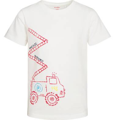 Endo - T-shirt z krótkim rękawem dla chłopca, z wozem strażackim, biały, 2-8 lat C05G175_2 31