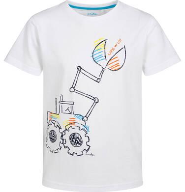 T-shirt z krótkim rękawem dla chłopca, z koparką, biały, 2-8 lat C05G188_1
