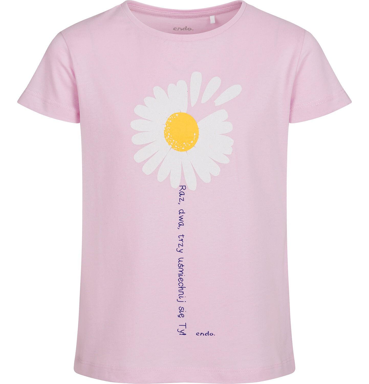 Endo - T-shirt z krótkim rękawem dla dziewczynki, ze stokrotką, różowy, 9-13 lat D05G011_2