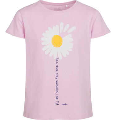 T-shirt z krótkim rękawem dla dziewczynki, ze stokrotką, różowy, 9-13 lat D05G011_2