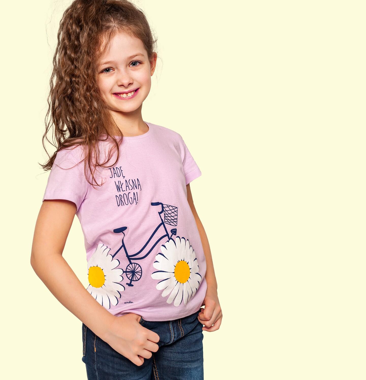 Endo - T-shirt z krótkim rękawem dla dziewczynki, z rowerem, różowy, 9-13 lat D05G020_1