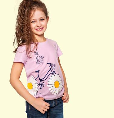 Endo - T-shirt z krótkim rękawem dla dziewczynki, z rowerem, różowy, 9-13 lat D05G020_1 3
