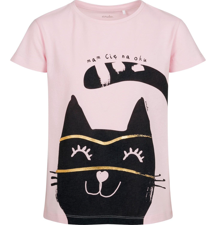 Endo - T-shirt z krótkim rękawem dla dziewczynki, z kotem, różowy, 9-13 lat D05G077_1