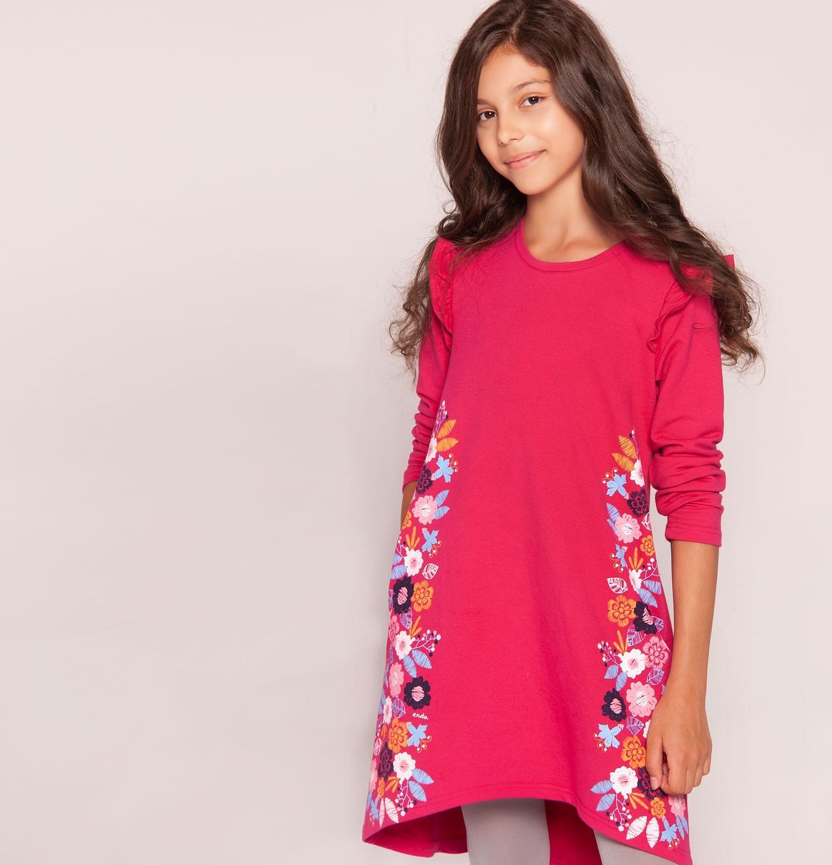 Endo - Sukienka z długim rękawem dla dziewczynki 3-8 lat D82H034_1