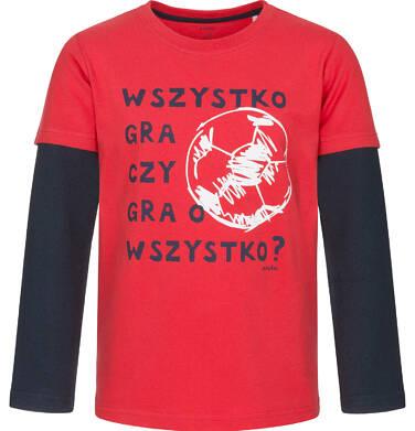 Endo - T-shirt z długim rękawem dla chłopca, kontrastujące rękawy, czerwony, 9-13 lat C92G526_1