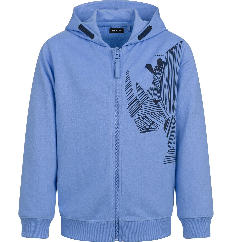 Endo - Rozpinana bluza z kapturem dla chłopca, z nosorożcem, niebieska, 9-13 lat C03C514_1