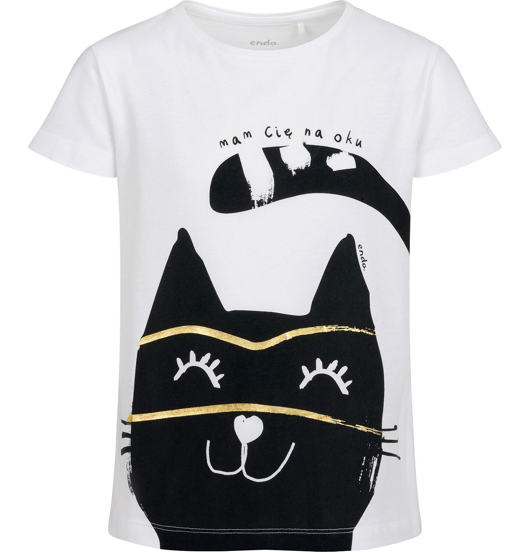 Endo - T-shirt z krótkim rękawem dla dziewczynki, z kotem, biały, 9-13 lat D05G077_2
