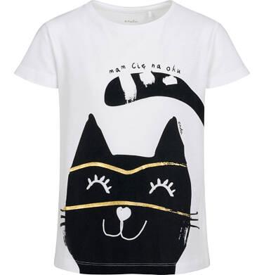 Endo - T-shirt z krótkim rękawem dla dziewczynki, z kotem, biały, 9-13 lat D05G077_2,1