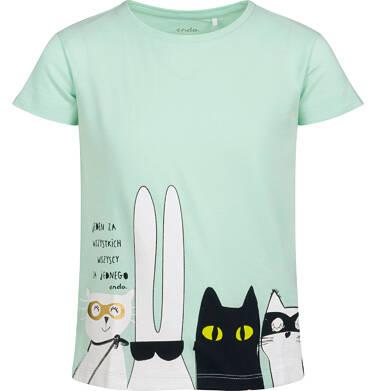 Endo - T-shirt z krótkim rękawem dla dziewczynki, z bohaterami, zielony, 2-8 lat D05G099_1 3