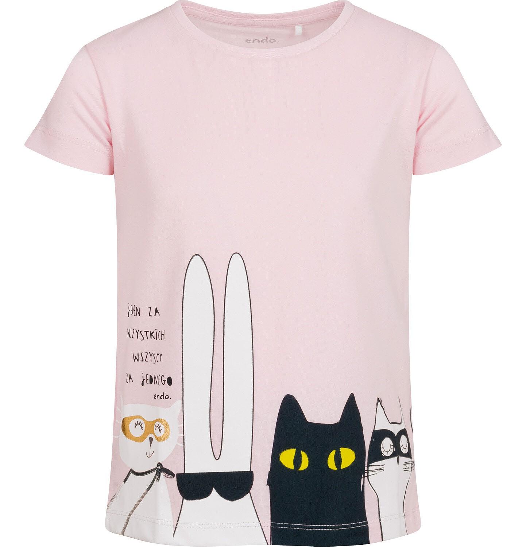 Endo - T-shirt z krótkim rękawem dla dziewczynki, z bohaterami, różowy, 2-8 lat D05G099_2