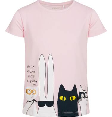 T-shirt z krótkim rękawem dla dziewczynki, z bohaterami, różowy, 2-8 lat D05G099_2