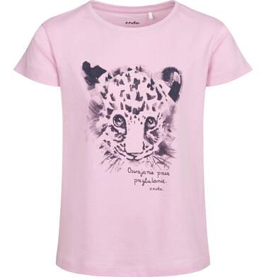 Endo - T-shirt z krótkim rękawem dla dziewczynki, z małą panterą, różowy, 9-13 lat D05G143_1 80