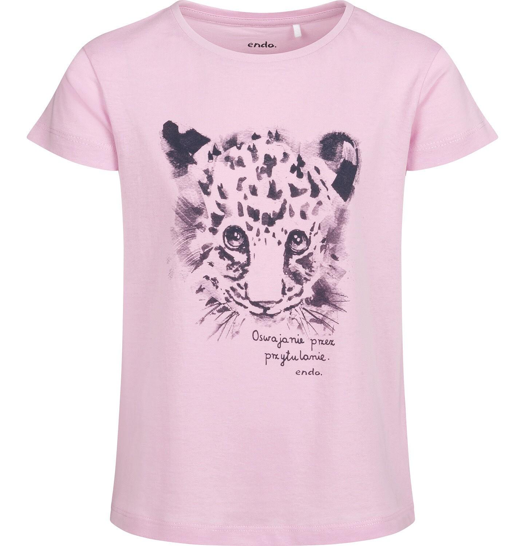 Endo - T-shirt z krótkim rękawem dla dziewczynki, z małą panterą, różowy, 2-8 lat D05G144_1
