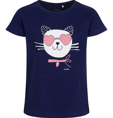 Endo - T-shirt z krótkim rękawem dla dziewczynki, z kotem, granatowy, 9-13 lat D05G185_1,1