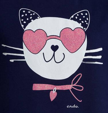 Endo - T-shirt z krótkim rękawem dla dziewczynki, z kotem, granatowy, 9-13 lat D05G185_1,2