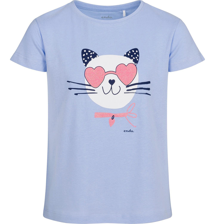Endo - T-shirt z krótkim rękawem dla dziewczynki, z kotem, niebieski, 9-13 lat D05G185_2