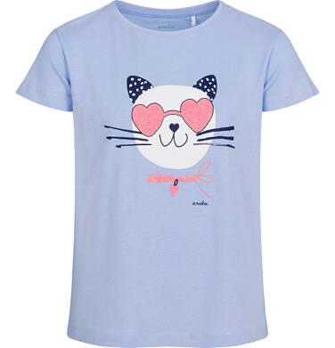 T-shirt z krótkim rękawem dla dziewczynki, z kotem, niebieski, 9-13 lat D05G185_2