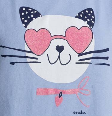 Endo - T-shirt z krótkim rękawem dla dziewczynki, z kotem, niebieski, 9-13 lat D05G185_2,2
