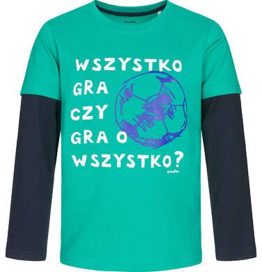 Endo - T-shirt z długim rękawem dla chłopca, kontrastujące rękawy, zielony, 3-8 lat C92G026_2