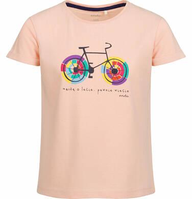 Endo - Bluzka z krótkim rękawem dla dziewczynki, z kolorowym rowerem, brzoskwiniona, 9-13 lat D03G527_1