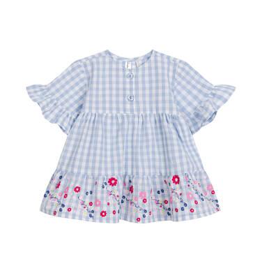 Endo - Sukienka z krótkim rękawem dla dziewczynki, w kropki z kwiatami u dołu, granatowa N03H012_1