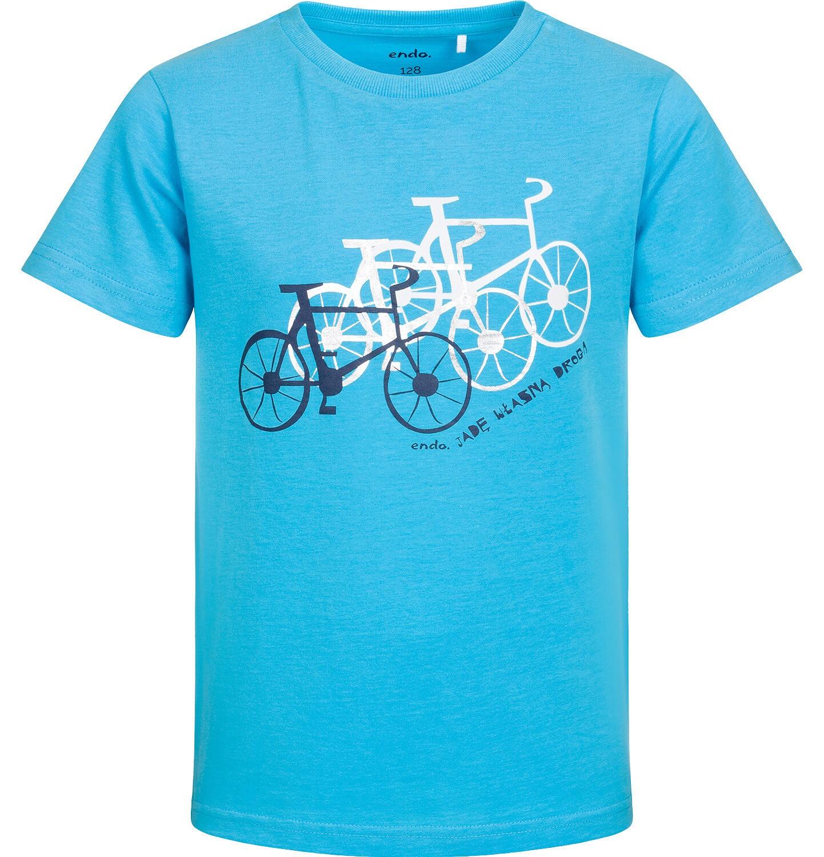 Endo - T-shirt z krótkim rękawem dla chłopca, z rowerami, niebieski, 2-8 lat C05G178_1
