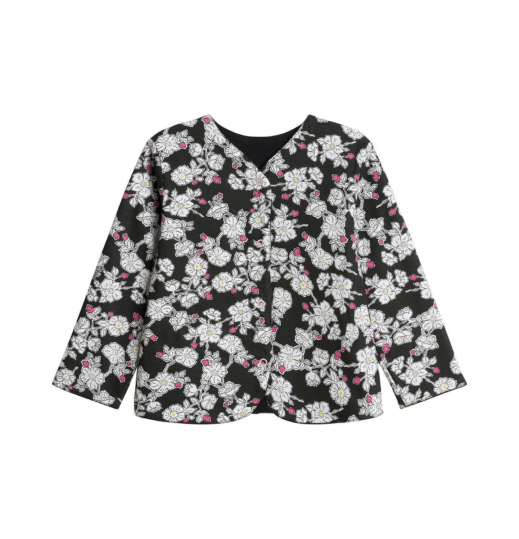 Endo - Dwustronna bluza rozpinana dla dziecka do 3 lat, czarna, kwiatowy nadruk N92C002_1