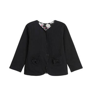 Endo - Dwustronna bluza rozpinana dla dziecka do 3 lat, czarna, kwiatowy nadruk N92C002_1 17